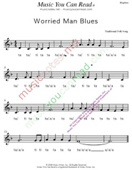 "Click to Enlarge: ""Worried Man Blues,"" Rhythm Format"