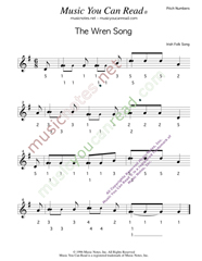 "Click to Enlarge: ""The Wren Song,"" Pitch Number Format"