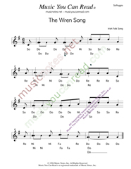 "Click to Enlarge: ""The Wren Song,"" Solfeggio Format"