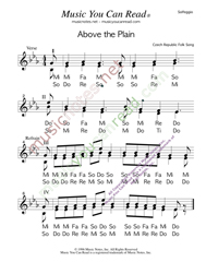 "Click to Enlarge: ""Above the Plain,"" Solfeggio Format"