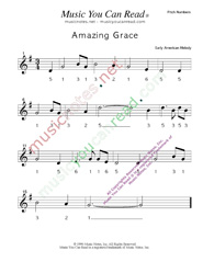 "Click to Enlarge: ""Amazing Grace,"" Pitch Number Format"