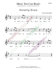 "Click to Enlarge: ""Amazing Grace,"" Rhythm Format"
