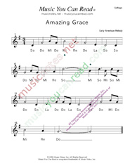 "Click to Enlarge: ""Amazing Grace,"" Solfeggio Format"