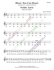"Click to Enlarge: ""Andale Juana,"" Solfeggio Format"