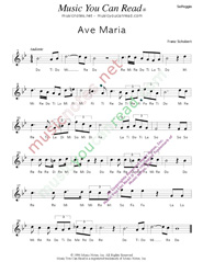 "Click to Enlarge: ""Ave Maria,"" Solfeggio Format"