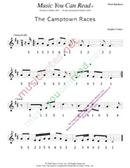 "Click to Enlarge: ""The Camptown Races,"" Pitch Number Format"