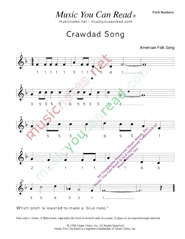 "Click to Enlarge: ""Crawdad Song,"" Pitch Number Format"
