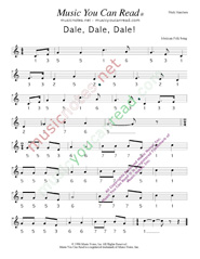 "Click to Enlarge: ""Dale, Dale, Dale,"" ""Piñata Song"" Pitch Number Format"
