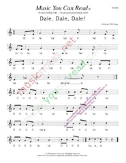 "Click to Enlarge: ""Dale, Dale, Dale,"" ""Piñata Song"" Rhythm Format"