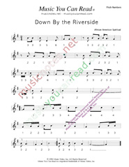 "Click to Enlarge: ""Down By the Riverside,"" Pitch Number Format"