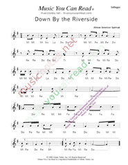 "Click to Enlarge: ""Down By the Riverside,"" Solfeggio Format"