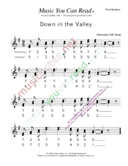 "Click to Enlarge: ""Down in the Valley,"" Pitch Number Format"