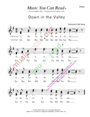 "Click to Enlarge: ""Down in the Valley,"" Solfeggio Format"