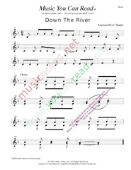 """Down the River,"" Music Format"
