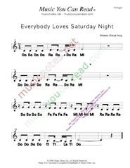 "Click to Enlarge: ""Everybody Loves Saturday Night,"" Solfeggio Format"