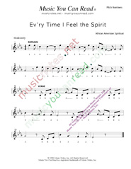 "Click to Enlarge: ""Ev'ry Time I Fell the Spirit,"" Pitch Number Format"