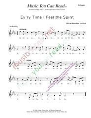"Click to Enlarge: ""Ev'ry Time I Fell the Spirit,"" Solfeggio Format"