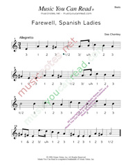 "Click to enlarge: ""Farewell, Spanish Ladies,"" Beats Format"