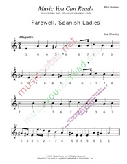 "Click to Enlarge: ""Farewell, Spanish Ladies,"" Pitch Number Format"