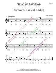 "Click to Enlarge: ""Farewell, Spanish Ladies,"" Rhythm Format"