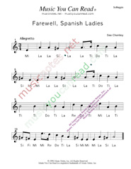 "Click to Enlarge: ""Farewell, Spanish Ladies,"" Solfeggio Format"