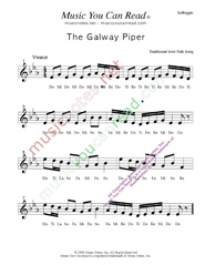 "Click to Enlarge: ""The Galway Piper,"" Solfeggio Format"