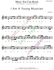 "Click to Enlarge: ""I Am A Young Musician,"" Pitch Number Format"