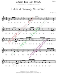 "Click to Enlarge: ""I Am A Young Musician,"" Rhythm Format"