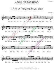 "Click to Enlarge: ""I Am A Young Musician,"" Solfeggio Format"