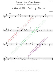 """In Good Old Colony Times,"" Music Format"