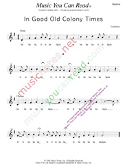 "Click to Enlarge: ""In Good Old Colony Times,"" Rhythm Format"