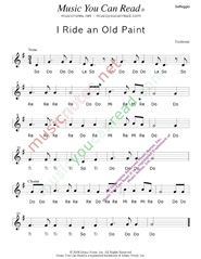 "Click to Enlarge: ""I Ride an Old Paint,"" Solfeggio Format"