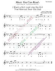 "Click to Enlarge: ""I Want a Girl Just Like the Girl That Married Dear Old Dad,"" Pitch Number Format"