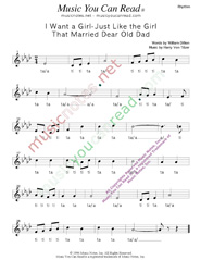 "Click to Enlarge: ""I Want a Girl Just Like the Girl That Married Dear Old Dad,"" Rhythm Format"
