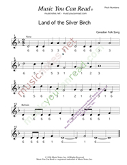 "Click to Enlarge: ""Land of the Silver Birch,"" Pitch Number Format"