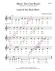 "Click to Enlarge: ""Land of the Silver Birch,"" Rhythm Format"