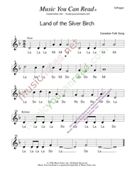 "Click to Enlarge: ""Land of the Silver Birch,"" Solfeggio Format"