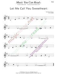 """Let Me Call You Sweetheart,"" Music Format"