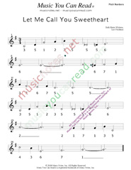 "Click to Enlarge: ""Let Me Call You Sweetheart,"" Pitch Number Format"