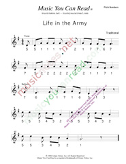"Click to Enlarge: ""Life in the Army,"" Pitch Number Format"