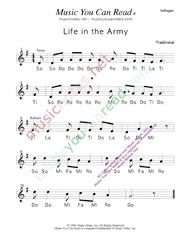 "Click to Enlarge: ""Life in the Army,"" Solfeggio Format"