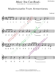 "Click to Enlarge: ""Mademoiselle From Armentieres,"" Pitch Number Format"