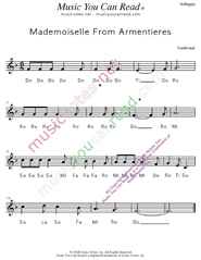 "Click to Enlarge: ""Mademoiselle From Armentieres,"" Solfeggio Format"