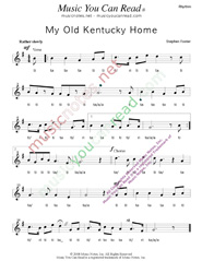 "Click to Enlarge: ""My Old Kentucky Home,"" Rhythm Format"