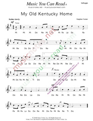"Click to Enlarge: ""My Old Kentucky Home,"" Solfeggio Format"