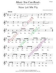 "Click to Enlarge: ""Now Let Me Fly,"" Solfeggio Format"
