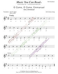"Click to Enlarge: ""O Cone, O Come, Emmanuel,"" Pitch Number Format"