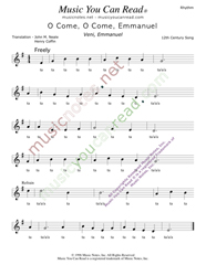 "Click to Enlarge: ""O Cone, O Come, Emmanuel,"" Rhythm Format"