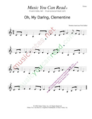 """Oh, My Darling, Clementine,"" Music Format"