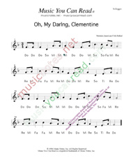 "Click to Enlarge: ""Oh, My Darling, Clementine,"" Solfeggio Format"